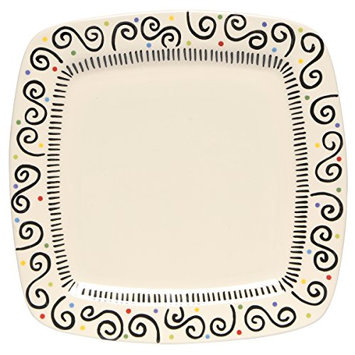 Thompson & Elm M. Bagwell Happy Together Ceramic Square Platter, Black/White (Serving Tray Pier One)
