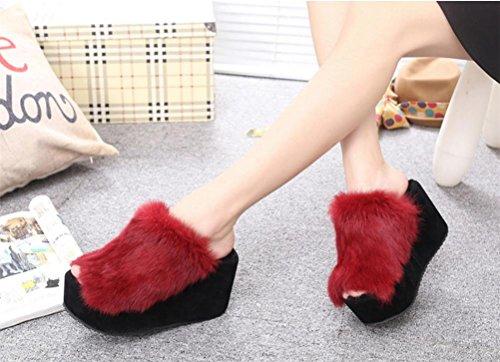 Mujer Peluche Otoño Invierno 39 De Mhgao E En Casual Zapatillas Rojo Mantener Para Zapatillas Interiores Caliente BFwEHqcXxw