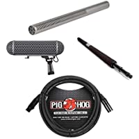 Rode Microphones NTG-3 Precision Broadcast Grade Super Cardioid Shotgun Microphone - Bundle With Rode Blimp Windshield/Shock Mount, Rode Micro Boompole, Pig Hog 20 8mm XLR Microphone Cable