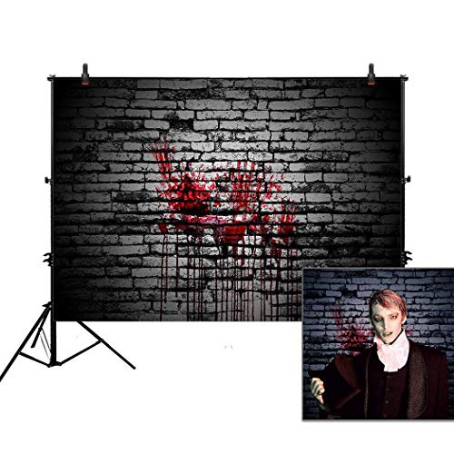 Allenjoy 7x5ft Bloody Brick Wall Backdrop for Halloween Portrait Photography Backdops Background Vintage Splatter Dripping Blood Dark Horror Scary Pictures Party Decorations Decor Photo Studio Booth ()