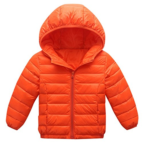 AIEOE Girls Down Coat Hooded Long Sleeve Zipper Up Winter Outwear Jacket 3-8T Orange