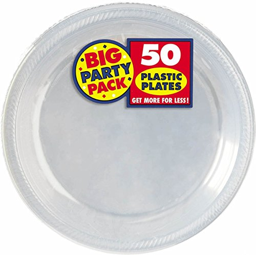 Amscan Big Party Pack Plastic Lunch Plates, 10.5-Inch, Clear, 50 Count Fun Lunch Plates