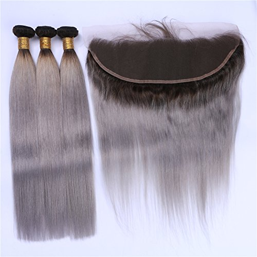 Cloud-Hair-Dark-Roots-Silky-Straight-Hair-Extensions-With-13×4-lace-Frontal-1B-Grey-Color-Virgin-Hair-3Bundles-With-Ear-To-Ear-Frontal-4Pcs-Lot