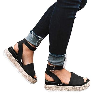 3fe302dbe7c Syktkmx Womens Flatform Slingback Sandals Summer Flat Ankle Strap Open Toe  Espadrilles Black