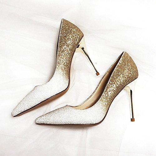 ZHANGYUSEN de de Cristal Finos Shoes Zapatos de Zapatos Mujer Zapatos Zapatos champán de Boda oro Zapatos de Plata Punta Heel Banquete de 10cm Gradual Lentejuelas Bridesmaids rqFUr