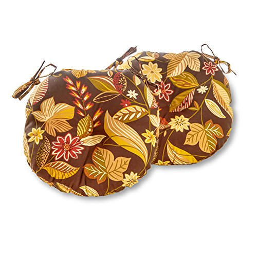 Greendale Home Fashions Round Indoor/Outdoor Bistro Chair Cushion, Timberland Floral, 15-Inch, Set of ()