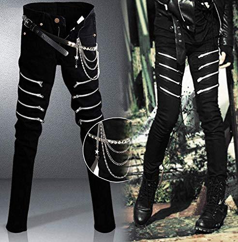 Anaisy Jeans Pantaloni Uomo In Da Stretch Con Giovane Skinny Chiusura Colour Deco Nero Denim Destrutturati anaYCqwr