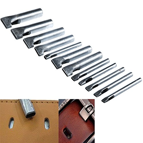 12Pcs Oval Shape Leather Craft Hole Punch Set Punch Belt Watch Band for Leather Working Oblong Shape - Shapes Oblong