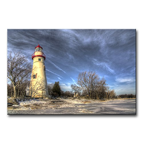 Wall Art Decor Poster Painting On Canvas Print Pictures Historic Marblehead Lighthouse Ohio Shores of Lake Erie Winter Snow Landscape Lighthouse Framed Picture for Home Decoration Living Room ()