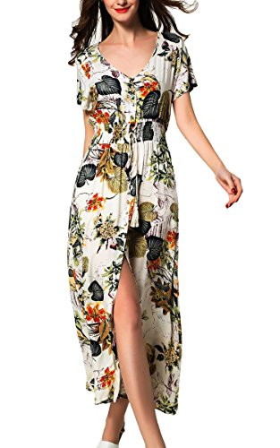 Printed Tie Dress (ARANEE Women's Printed V-neck Short Sleeve Wrap Waist Tie Long Maxi Dress,Apricot)