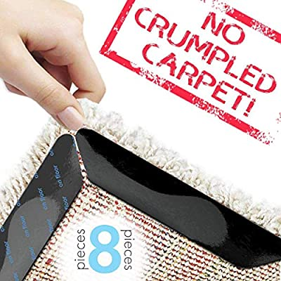 Carpet Tape Rug Pud Anti Curling Rug Grippers Non Slip Carpet Gripper for Hardwood Floors Anti Slip Rug Gripper Grips Reusable Non Skid Carpet Corners Keeps Your Rugs in Place Makes Corners Flat
