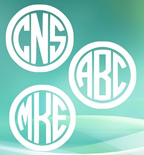 Circle Monogram Set (Set of 3 Circle Monogram Decals.Customize the color, initials, and size. Perfect for windows, wine glasses, flasks, Yeti cups, bridesmaids gift, water bottle, etc.)