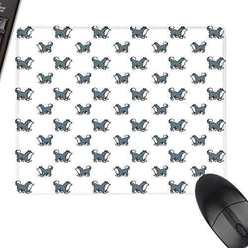 Dog Gaming Mousepad Husky Puppy Siberian Energetic Pet Alaskan Origin Sketch Style Cartoon Cold with Stitched Edges 11.8