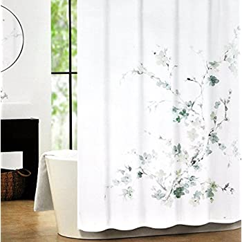 Amazon Com Tahari Home Shower Curtain Sprigs In Blue And