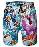 uideazone Cool Water Sport Swimsuit Men Funny Alpaca Rainbow Board Shorts Summer Beach Holiday Bathing Suits Surfing Shorts Vacation