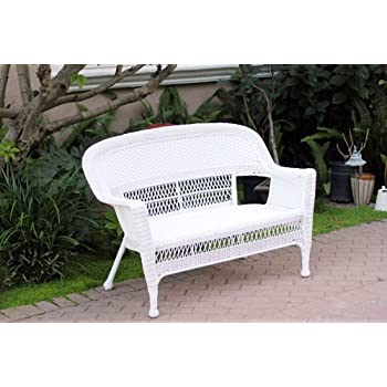 This Item White Wicker Patio Love Seat