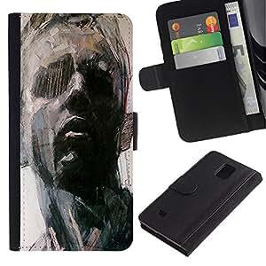 Planetar® Modelo colorido cuero carpeta tirón caso cubierta piel Holster Funda protección Para Samsung Galaxy Note 4 IV / SM-N910 ( Retrato del hombre Arte Pintura Piensa)
