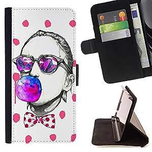 Devil Case- Estilo PU billetera de cuero del soporte del tir¨®n [solapa de cierre] Cubierta FOR Samsung Galaxy S4 IV I9500 i9508 i959- Art Funny Woman ball face