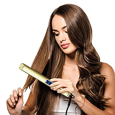 Dnsly Titanium Hair Straighteners, Flat iron for hair, Instant Heat Up, Make Your Hair Silky and Shiny, Gold