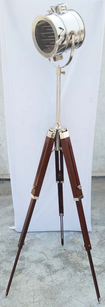 Nautical Collectible Chrome Spot Light Searchlight Studio Floor Lamp Wooden Tripod Stand