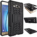 Wow Imagine Shockproof Hard Pc + Tpu With Kick Stand Rugged Back Case For Samsung Galaxy On7 On 7 / On7 Pro - Black