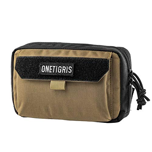 OneTigris Horizontal EDC Pouch Utility MOLLE Tool Bag Organizer with Phone Pocket & Patch Panel (Coyote Brown)