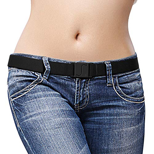 (JASGOOD Invisible Stretch Belt Adjustable Elastic Flat Belt with Patented Buckle for Women Dress Jeans(US Size 0-14, Black))