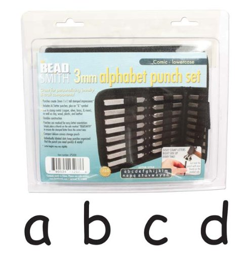 27 Piece Lowercase Comic Alphabet Letters Punch Set For Metal 3mm ()