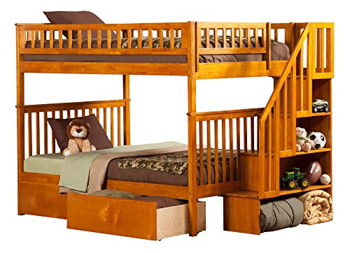 Atlantic Desk Maple (Atlantic Furniture Woodland Staircase Bunk Bed with Urban Bed Drawers, Caramel Latte, Full Over Full)
