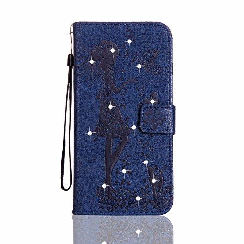GR Case Cover TPU + PU per Apple IPhone 5s SE, disegno in rilievo Ragazze strass PU Premium Leather Wallet di caso del basamento di vibrazione della copertura di caso con il supporto e cordicella e sl