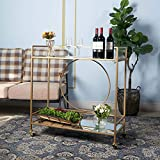 Bar Cart with 2 Mirrored Shelves, Durable Wine Cart
