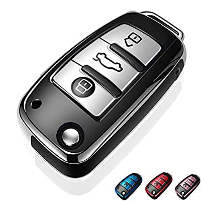 Autophone for Audi Key Fob Cover Case Premium Soft TPU 360 Degree Entire Protection Key Shell Key Case Cover Compatible with Audi A1 A3 A6 Q2 Q3 Q7 TT TTS R8 S3 S6 RS3 Smart Key -Silver: Automotive