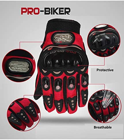 Hard Knuckle Full Finger Protective Gloves Motorcycle Gloves Motorbike ATV Riding Racing Gloves for Men Outdoor Motorcycle Gloves M, Black