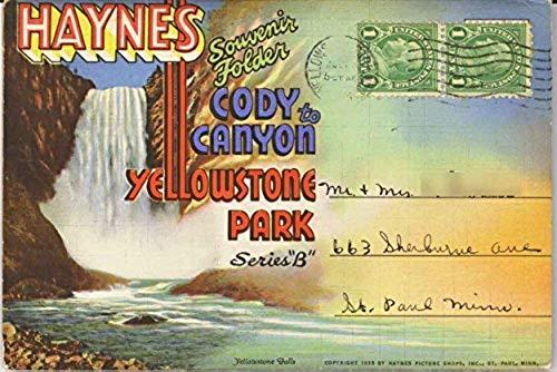 Cody Canyon to Yellowstone National Park - Haynes Series B - 1935 Curt Teich Souvenir Postcard Folder #D-3772