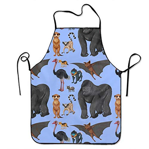 Background with Wild Animals Kitchen Apron for Women Painting Apron Dress Men Cooking Apron -