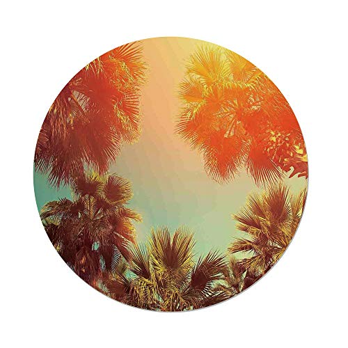 iPrint Polyester Round Tablecloth,Palm Tree Decor,Trees Sunlights Tranquility in Tropical Nature Landscape at Summer Theme,Orange Green,Dining Room Kitchen Picnic Table Cloth Cover,for Outdoor Indoor