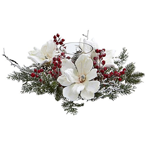 Berry Candelabrum - Nearly Natural Frosted Magnolia & Berry Artificial Arrangement Candelabrum, White/Green