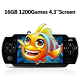 Handheld Game Console, 16GB 4.3 ''Screen 1200 Classic Games, Portable Video Game Console,Support Arcade Games/GBA / GBC / NES / BIN / SMC, The Best Birthday Gift for Kids– Black