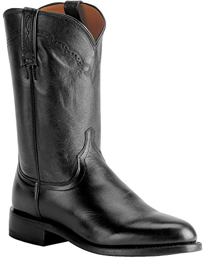 Lucchese Men's Handmade 1883 Lonestar Calf Roper Boot Round Toe Black 9.5 EE US