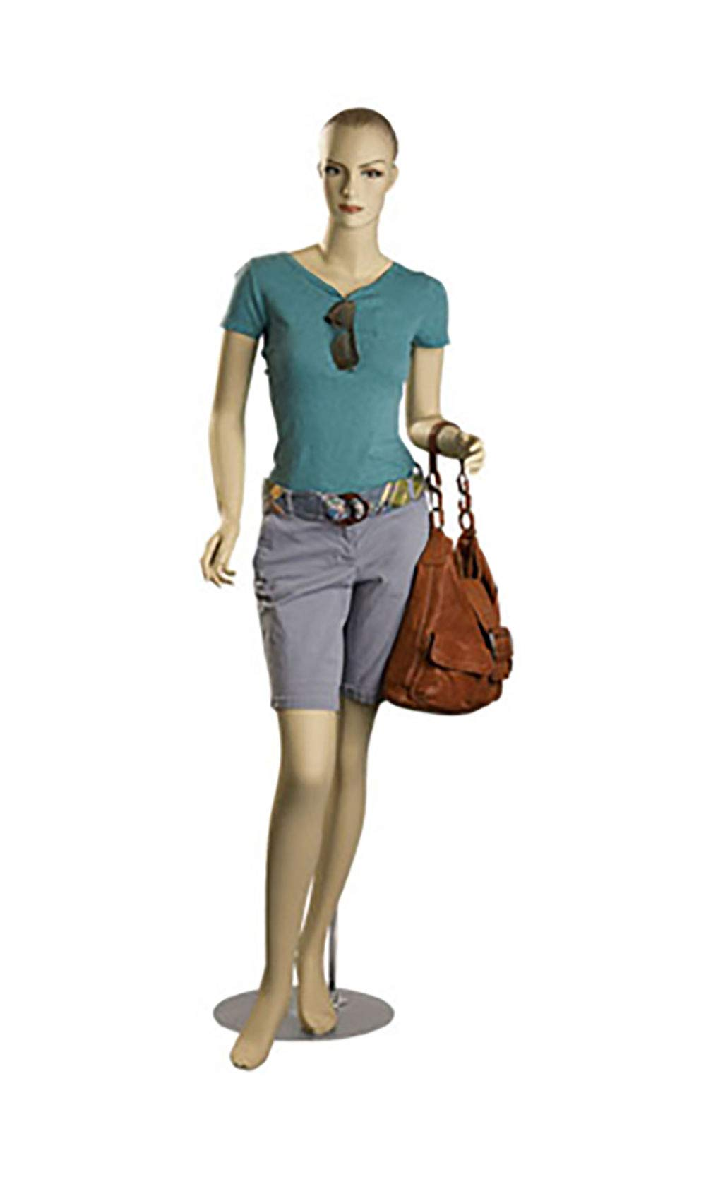 Female Caucasian Complexion Fiberglass Mannequin - Size 6 Height 5'11'' - Molded Brown Hair - with Base