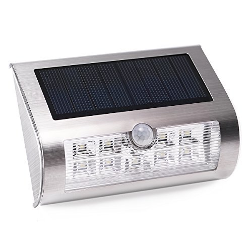 AVAWAY Solar Lights LED Waterproof Wall Light with Motion Sensor Stainless Steel for Patio Deck Yard Garden Driveway Outside