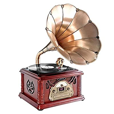 Pyle-Home Trumpet Horn Turntable with AM/FM Radio CD/Cassette/USB & Direct to USB Recording by Pyle