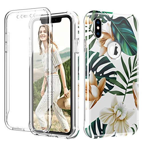 PIXIU Unique Tropical Plants for iPhone Xs Max Case,Lightweight Dual Layer Full Body Shockproof Protective Case Cover (Built in Screen Protector) for Apple iPhone Xs Max 6.5 inch ()