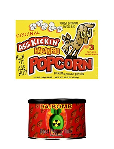 Ghost Pepper Nuts, Spicy Popcorn Microwave - Habanero 3 Pack