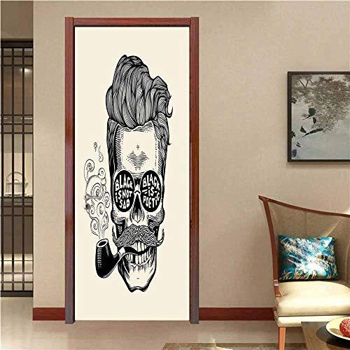 Indie Art Door Stickers Hipster Gentleman Skull with Mustache Pipe and Eyeglasses with Inscription Vintage Door Decals for Home Room Decoration Black Cream W30 x H80 ()
