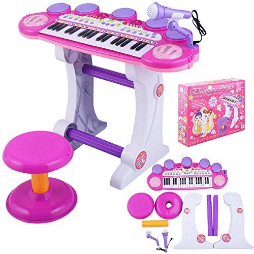 Love+Grace Gracelove 37 Key Kids Musical Electronic Keyboard Organ Piano Microphone Synthesizer Stool