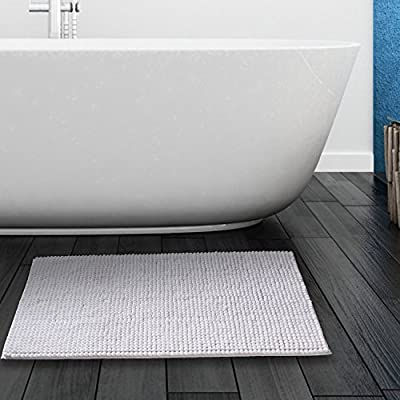 "Bath mat Chenille Bath Rugs, Non-Slip Water Absorbency Washable Bathroom Mat 30""X 20"" (White) - 100%MICROFIBER & DURABLE: Bathroom mat is constructed with thousands of individual microfiber shags, this durable non-slip backing will not fade, keeping the mat in place for years. NON-SLIP: Bathmat features non-skid bottom. It provides added piece of mind when used with children/kids or elders, keeping wet feet off of slipper tile and off of a slippery bathroom rug. MAXIMUN ABSORBENT: Bathroom rug is designed to absorb water to dry your feet quickly, its strong water-absorbent ability can make your bathroom floors quickly dry and clean. - bathroom-linens, bathroom, bath-mats - 51rA6XzM0EL. SS400  -"