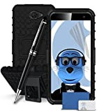 iTALKonline Vodafone Smart Platinum 7 Black Black Tough Hard Shock Proof Rugged Heavy Duty Case Cover with Viewing Stand with LCD Screen Protector and Pro Stylus Pen