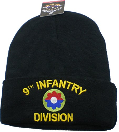 9th Infantry Division Cuff Beanie Skull Cap [Adult - Black]