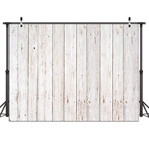 Dudaacvt 7x5FT Vintage Wood Backdrop Retro Rustic White and Gray Wooden Floor Background for Photography Kids Adult Photo Booth Video Shoot Vinyl Studio Props 151 ()